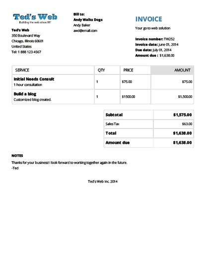 Standard invoice template accmission Choice Image