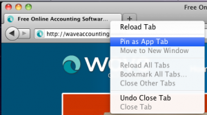 Right click a Firefox tab to pin an app
