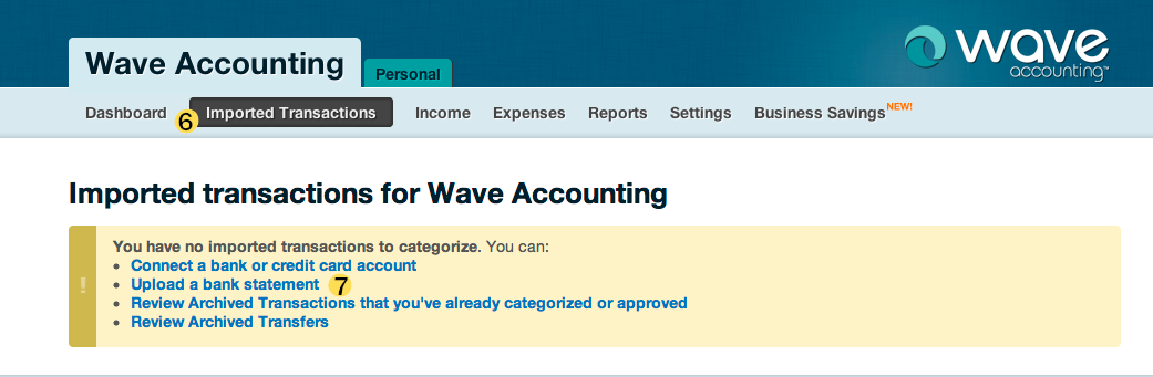 fiscal year end 2011: wave accounting upload a bank statement